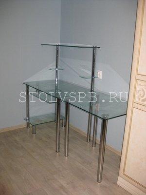 Компьютерный стол из стекла  в нишу