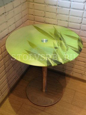 Круглый обеденный стол бамбук
