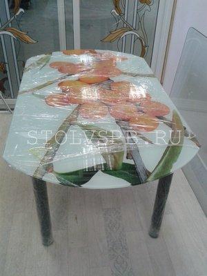 Стеклянный стол бочка ОБЛЕПИХА
