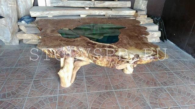 Стеклянный стол на заказ из натурального дерева и стекла