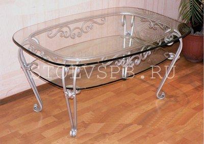 Кованный стеклянный стол с прозрачным стеклом